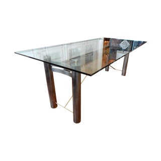 Mid-Century Modern Glass and Metal Dining Table For Sale