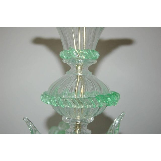 Murano Chandelier Vintage Murano Glass Clear Green For Sale - Image 4 of 10