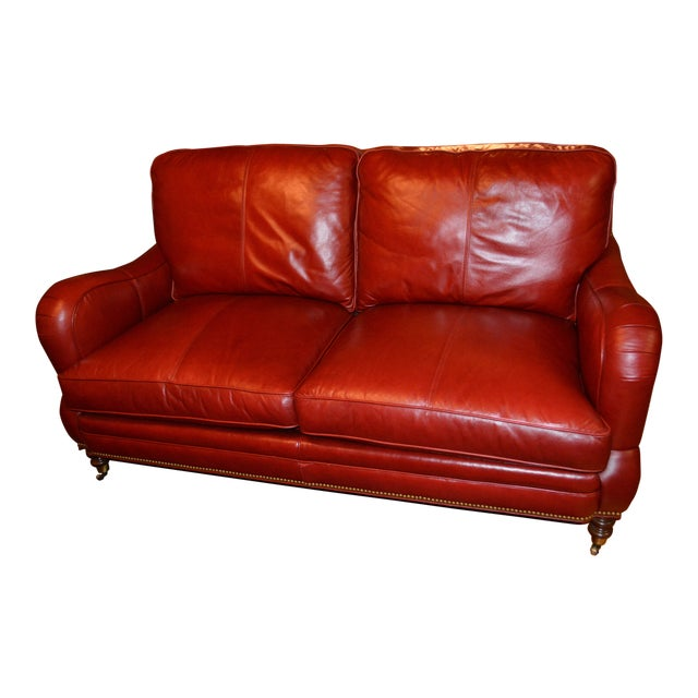 Whittemore Sherrill Red Leather Sofa Chairish