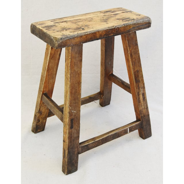 Rustic Primitive Country Wood Farmhouse Stool For Sale - Image 9 of 11