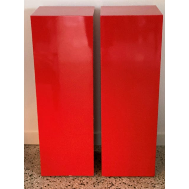 Vintage Minimalist Red Pedestals - a Pair For Sale - Image 4 of 13