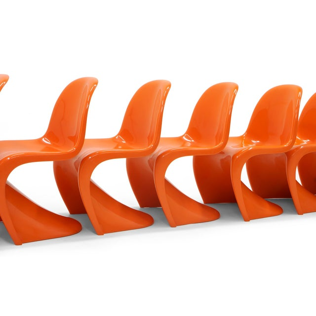 Herman Miller Vintage Orange Verner Panton S Chairs- Set of 7 For Sale - Image 4 of 10