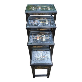 1960s Asian Chinoiserie Black Lacquer Inlaid Stone & Glass Top Nesting Tables - Set of 4 For Sale