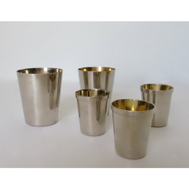 Vintage German Gentleman's Silver Plate & Gold Lined Traveling Cordial Cups - 5 Pieces For Sale - Image 13 of 13