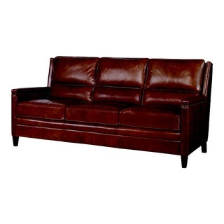 Century Furniture Bernard Sofa, Russett Leather For Sale