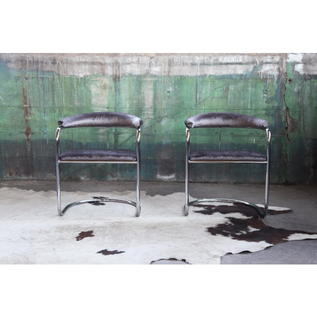 Mid-Century Modern Mid Century Modern Anton Lorenz for Thonet Bent Chrome Cantilever Chairs - a Pair For Sale - Image 3 of 12