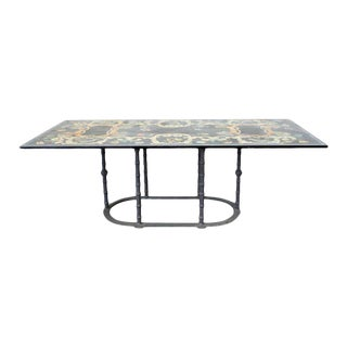 Florentine Scagliola Marble Inlay Garden Dining Table For Sale