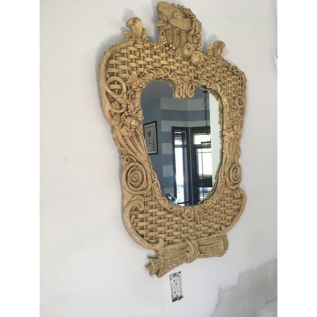1960s Mid-Century Basketweave Mirror For Sale - Image 5 of 6