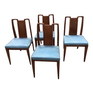Mid-Century Modern Curved Burl Wood Dining Chairs- Set of 4