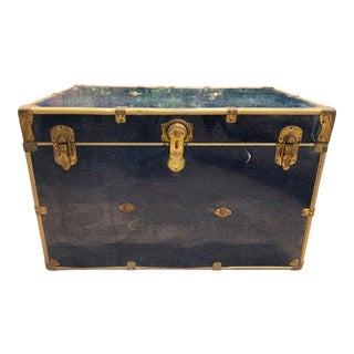 1900s Industrial Blue Leather Steamer Trunk
