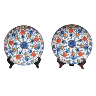 17th Century Delft Polychrome Plates - a Pair