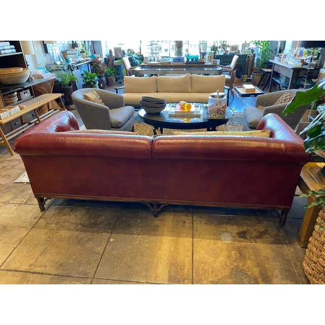 Metal Vintage Tufted Leather Chesterfield Sofa For Sale - Image 7 of 12
