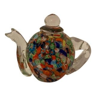 Millefiori Glass Art Tea Pot For Sale