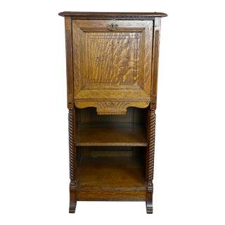 Antique Victorian Oak Cabinet W/Hidden Jewelry Safe For Sale