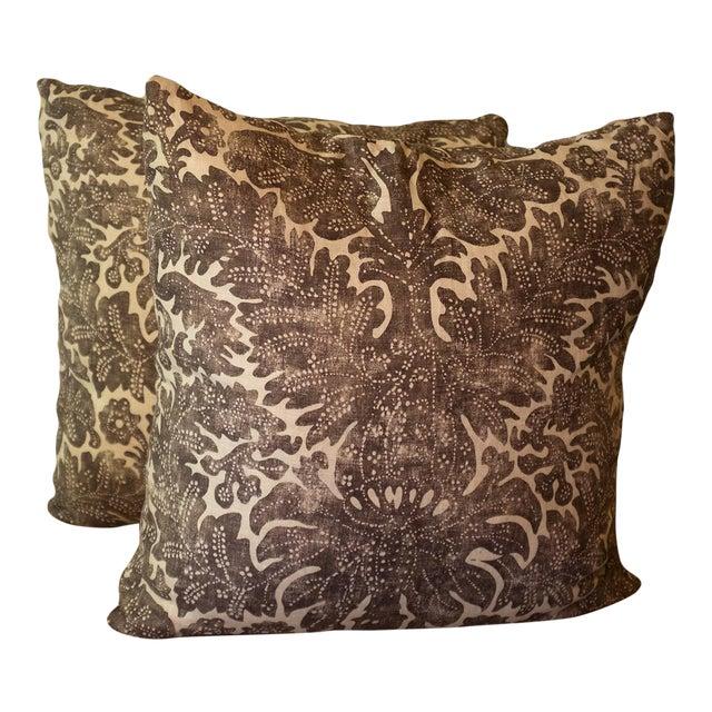 Ralph Lauren Linen Batik Pillow Covers - a Pair For Sale