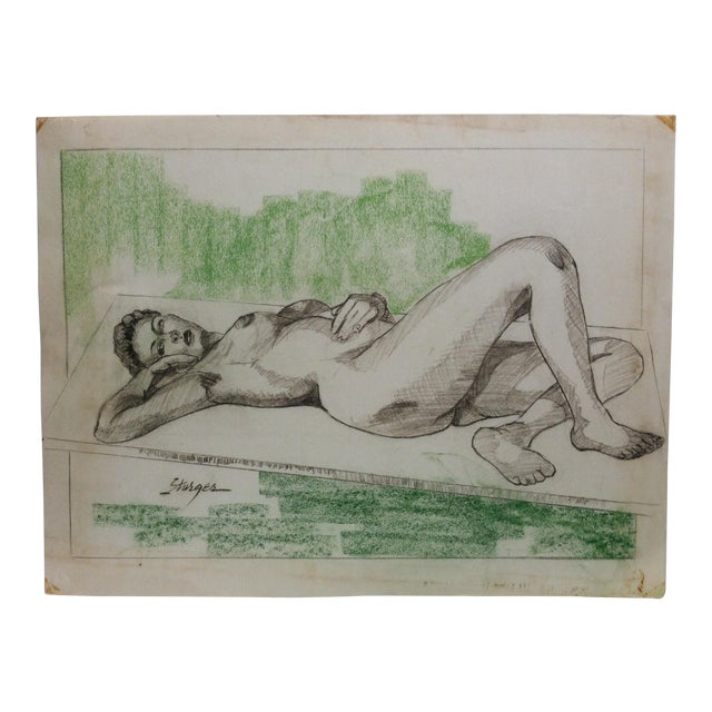 """1955 Vintage """"Sexy Woman - Laying Nude"""" Tom Sturges Jr. Original Drawing For Sale"""