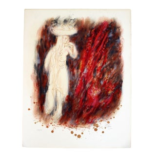 Contemporary Unframed Lithograph of Nude Woman Signed by Reuven Rubin For Sale