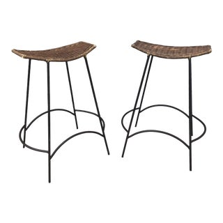 Mid-Century Modern Bar Stools by Arthur Umanoff - a Pair For Sale