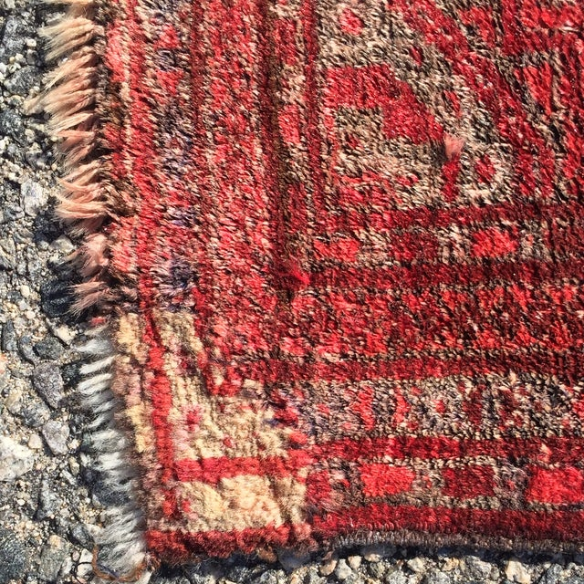 "Antique Turkaman Red Persian Rug - 1'10"" x 2'10"" - Image 7 of 7"