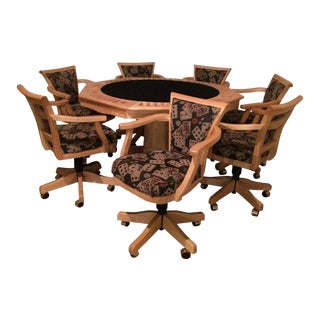 Two-Sided Game Table With Adjustable Chairs For Sale