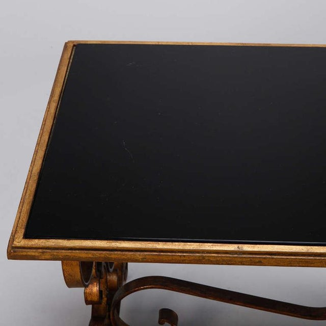 Italian Gilt Iron and Black Glass Cocktail or Coffee Table - Image 6 of 8