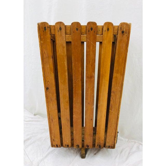 Rustic Antique Wooden Slat Rolling Cart For Sale - Image 3 of 8