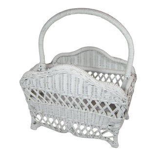 Vintage White Wicker Magazine Rack For Sale