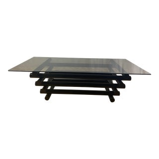 1970s Mid Century Modern French Tubular Steel Coffee Table For Sale