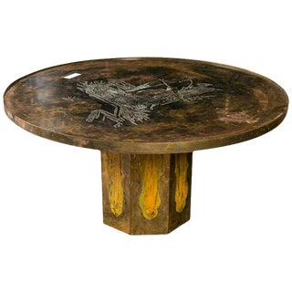 Philip and Kelvin LaVerne Chan Coffee Table Patinated Enameled Bronze and Pewter For Sale