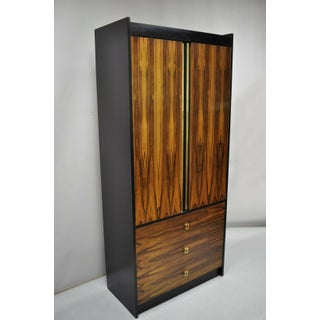 Mid Century Modern Rosewood Black Laminate John Stuart Style Armoire Preview