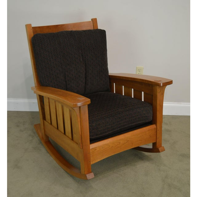 High Quality American Made Solid Cherry Wood Rocker with Custom Cushions
