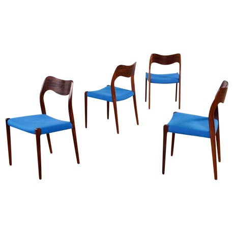 Moller Mid-Century Rosewood Chairs - Set of 4 - Image 1 of 7