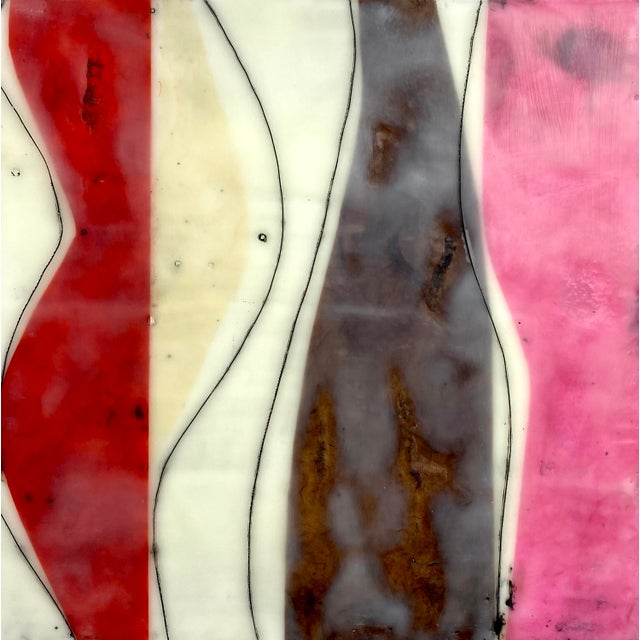 """""""Bodies in Motion"""" Encaustic Collage by Gina Cochran - 16 Piece Installation For Sale - Image 10 of 13"""