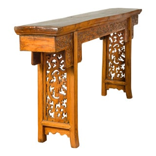 Chinese Ming Style Altar Table with Foliage Carved Frieze and Open Fretwork For Sale