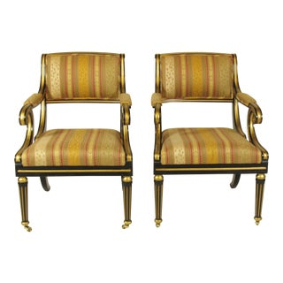 Regency Style Arm Chairs - a Pair For Sale