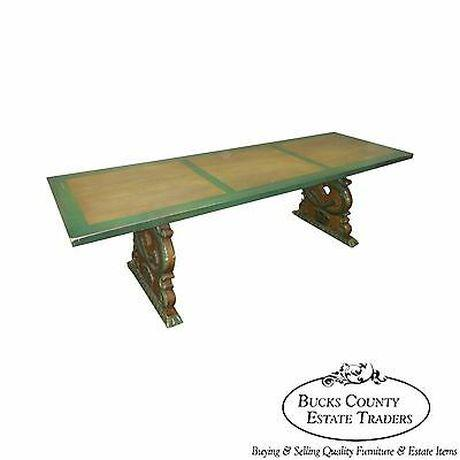 Antique Carved Serpent Base Renaissance Style Painted Splay Leg Dining Table For Sale - Image 13 of 13