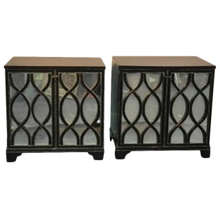 Pair of Mirrored Commodes With Beautiful Carved Wood Overlay For Sale