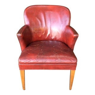 Vintage Red Leather Side Chair For Sale