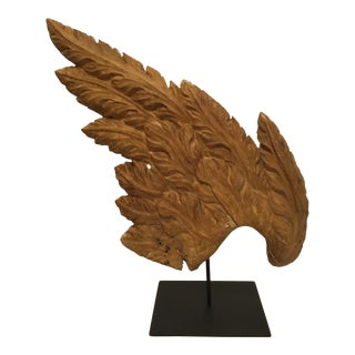 Antique Hand Carved Wood Angel Wing Sculpture on Custom Metal Stand For Sale