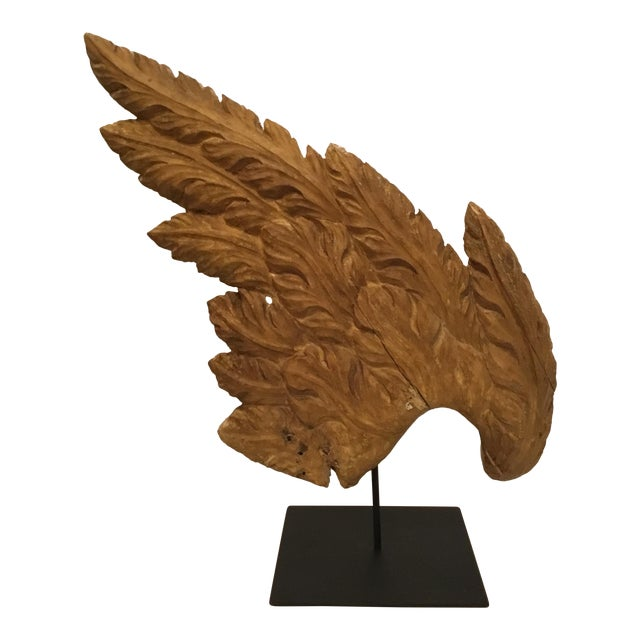 Antique Hand Carved Wood Angel Wing Sculpture On Custom Metal Stand