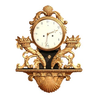 18th Century French Louis XV Carved Gilt Fruit Basket and Shell Wall Clock For Sale