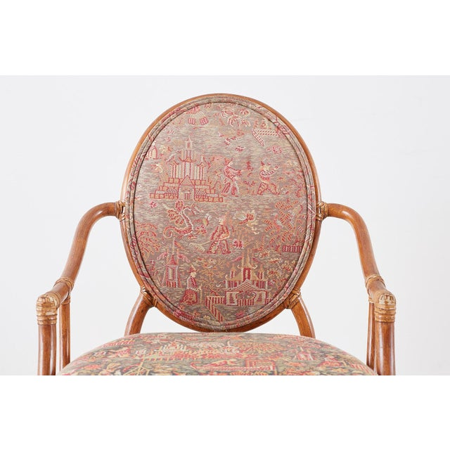 McGuire Rattan Chinoiserie Dining Armchairs - Set of 8 For Sale - Image 10 of 13
