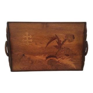 French Cross De Lorraine Art Nouveau Marquetry Wood Tray For Sale