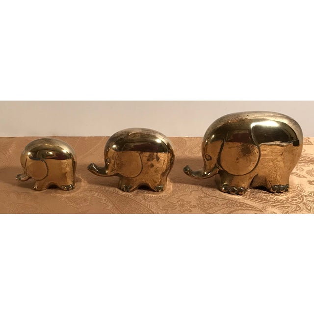 Mid 20th Century Art Deco Style Brass Elephants - Set of 3 For Sale - Image 5 of 8