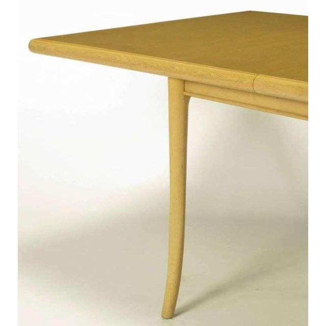 T.H.Robsjohn-Gibbings Bleached & Glazed Mahogany Saber Leg Dining Table - Image 7 of 8