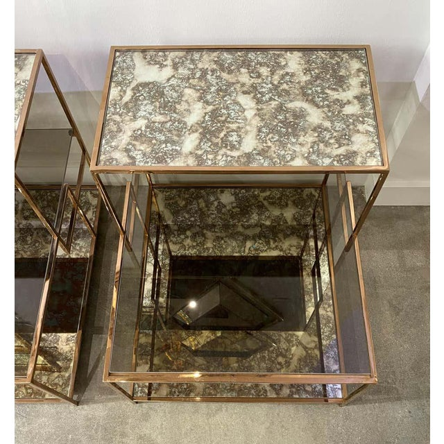 Milo Baughman Style Italian Side or Night Tables - a Pair For Sale - Image 10 of 13