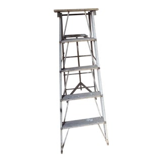 Vintage Rustic Weathered Wood Ladder For Sale