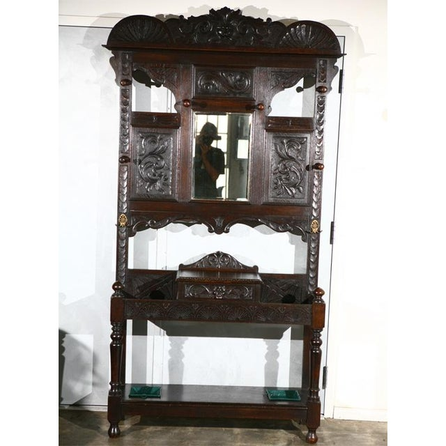 Carved Hallstand with Mirror For Sale - Image 4 of 4