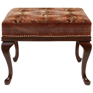Antique Stool With Walnut Queen Anne Legs Newly Upholstered in Mohair For Sale
