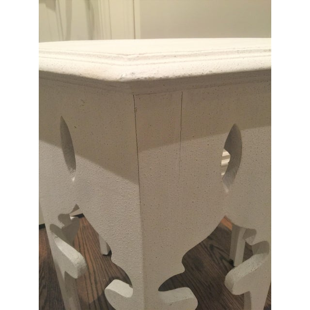 Moroccan Style White Wooden End Tables - a Pair - Image 6 of 10